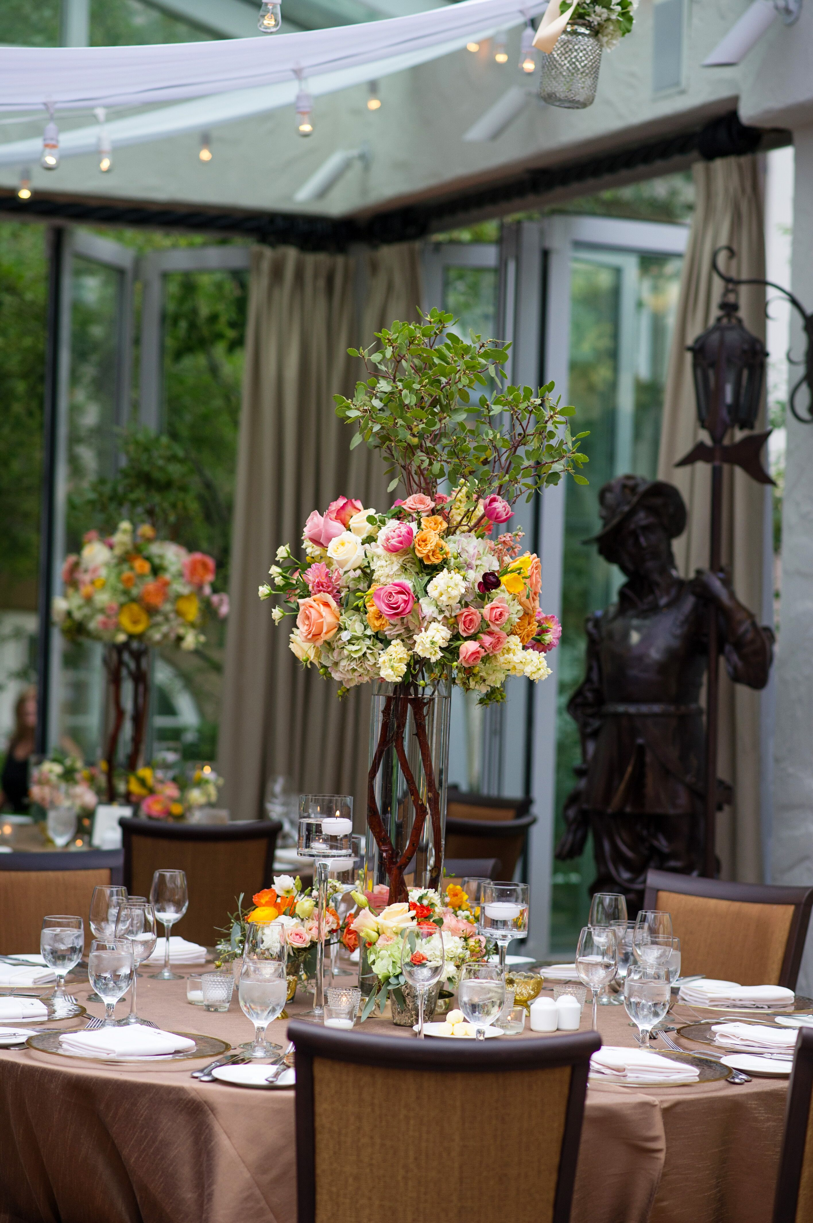 Garden Inspired Tall Wood And Flower Centerpieces