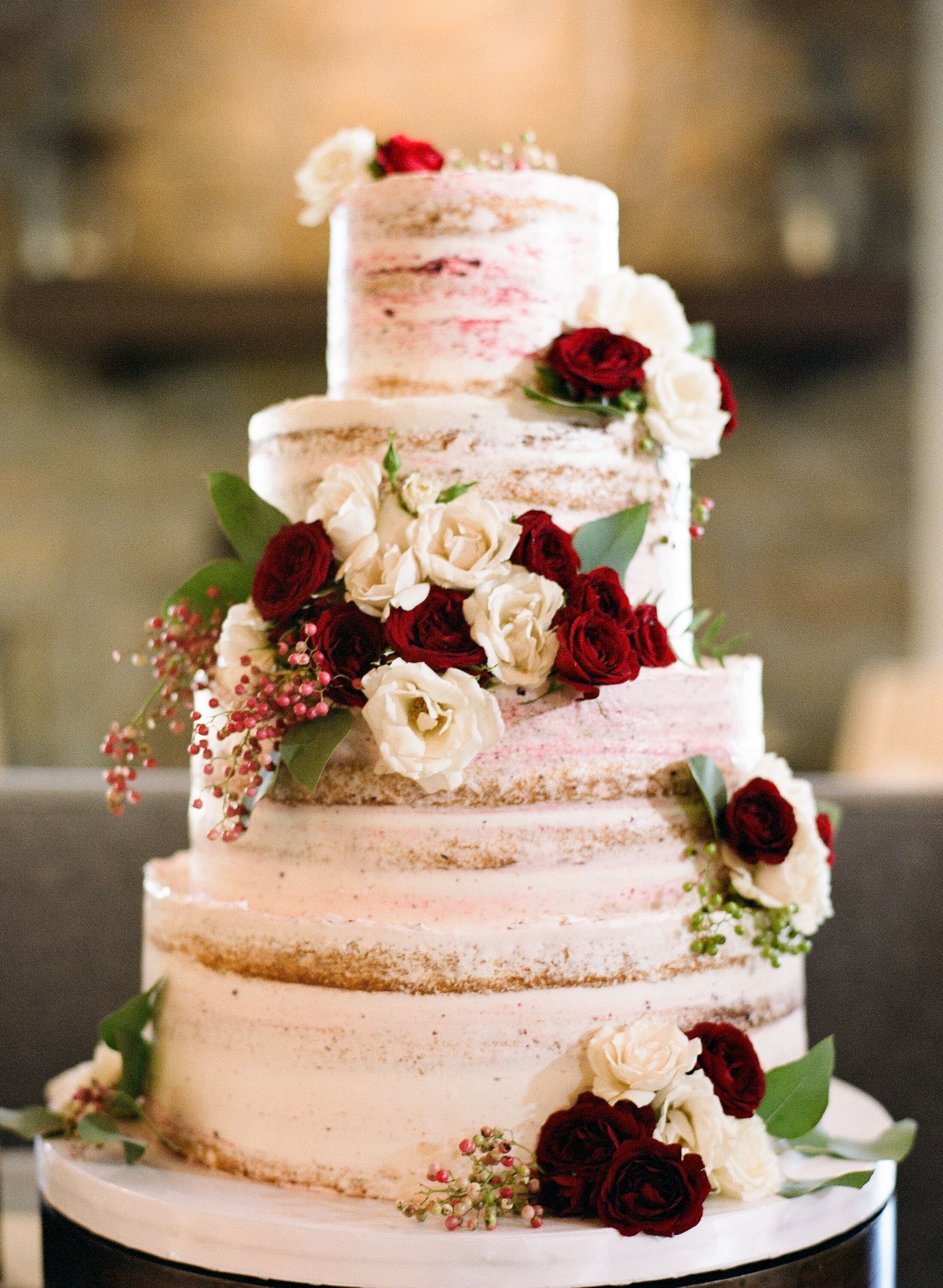 Wine Flavored Naked Wedding Cake