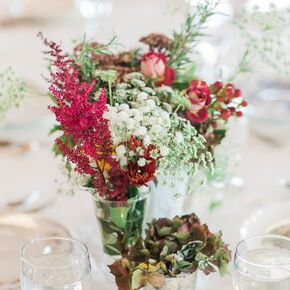 Rustic Red Astilbe And Wildflower Centerpieces