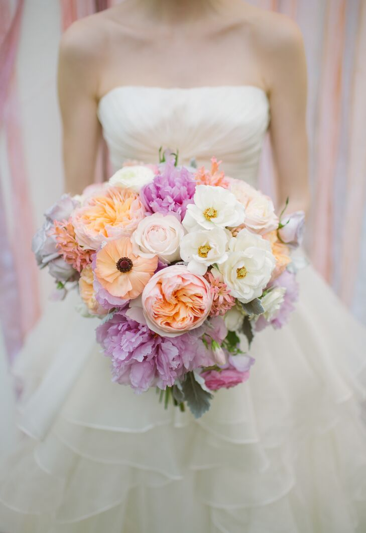 Pink, Peach and Lavender Spring Bridal Bouquet