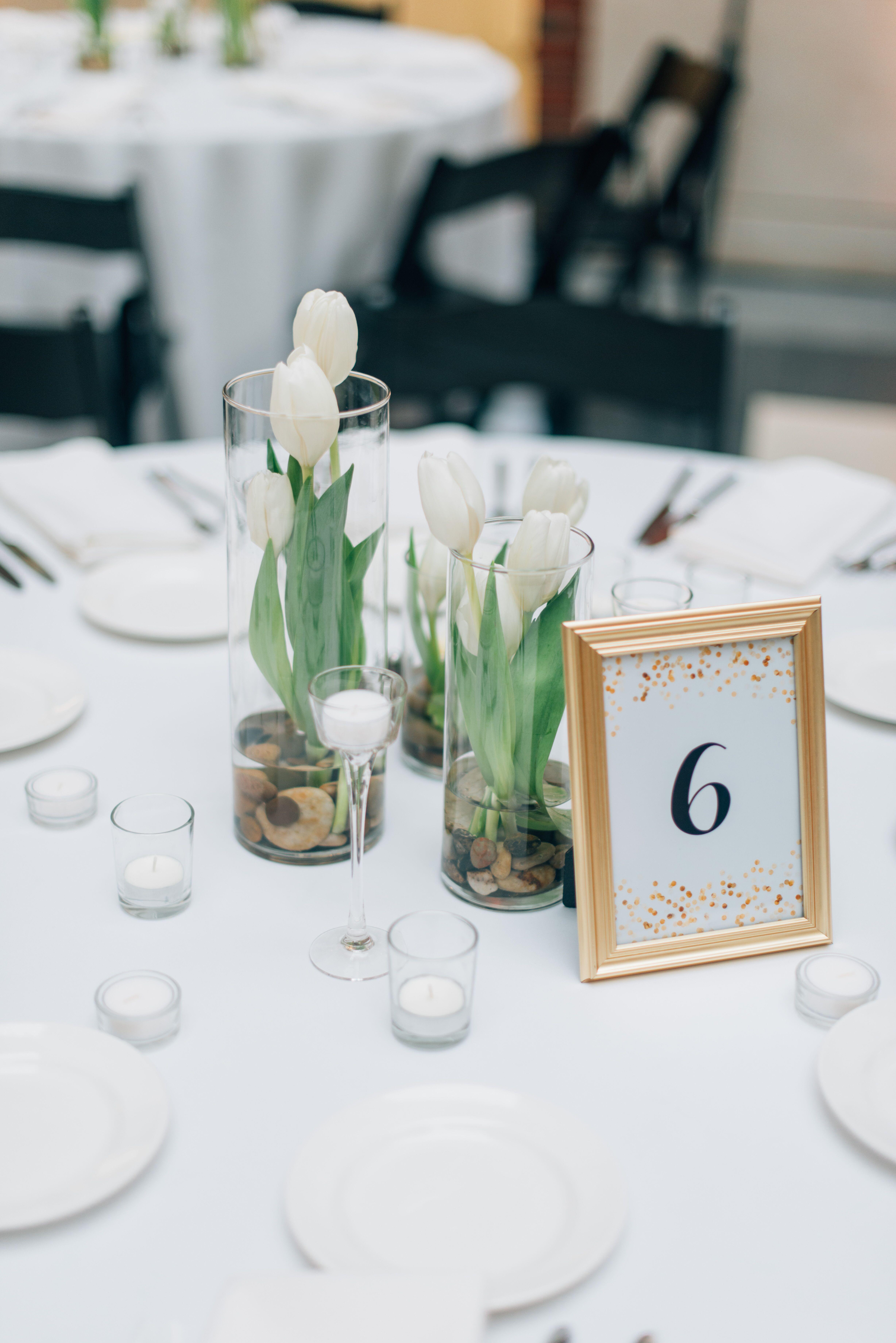 Modern white tulip centerpieces