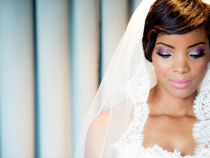 bride with purple eyeshadow