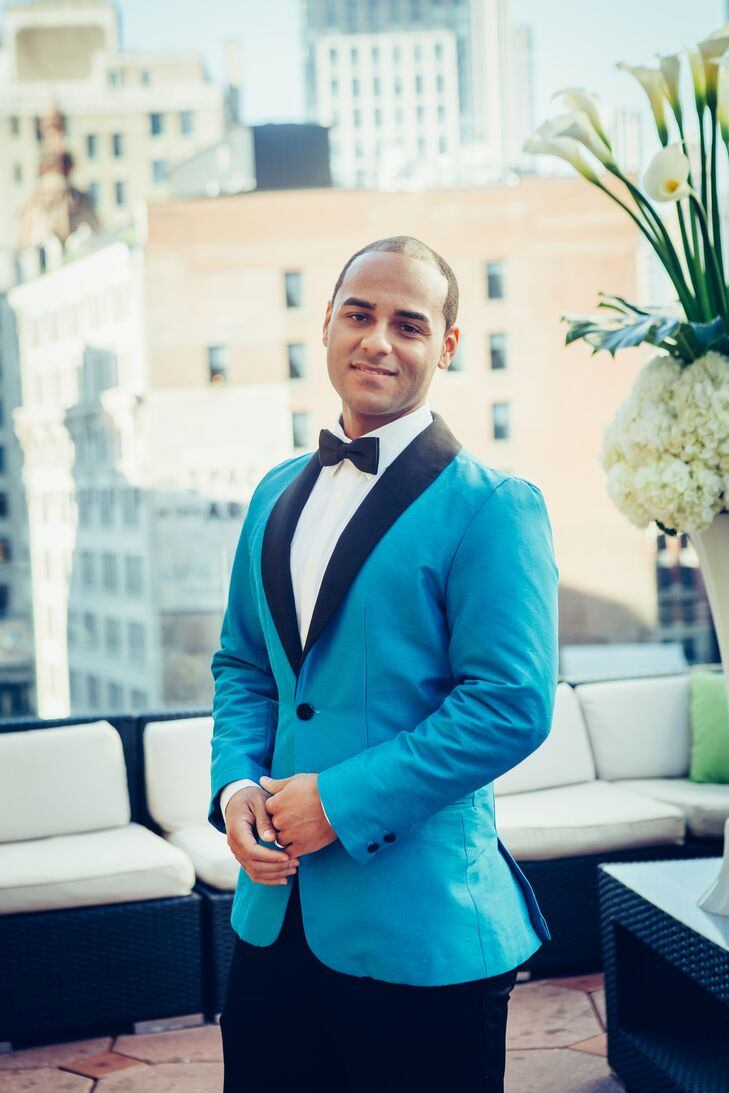 Custom Made Teal Blue Tuxedo with a Black Shawl Lapel by Darrel Cortez
