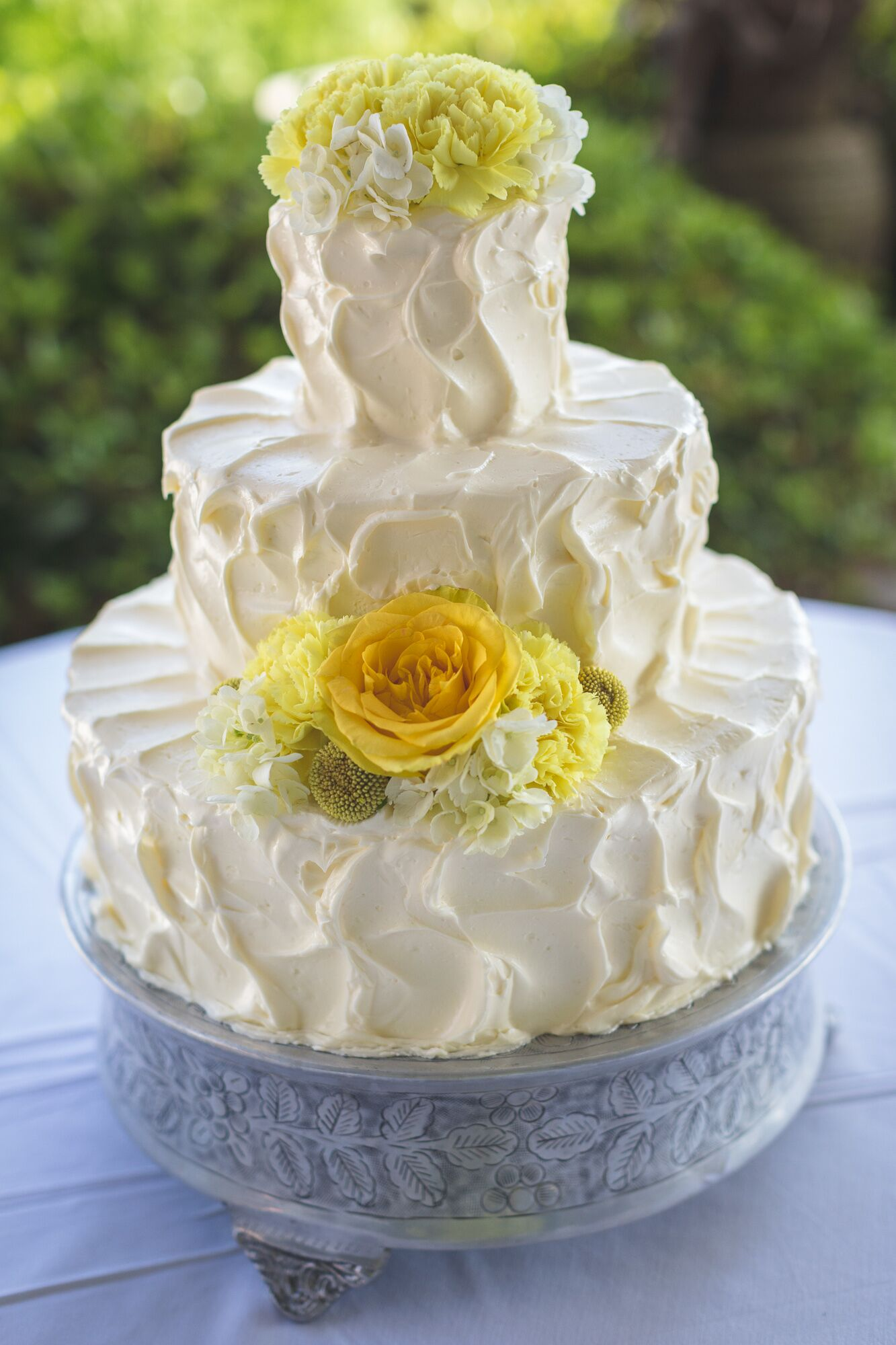 Textured Buttercream Cake with Fresh Yellow Flowers