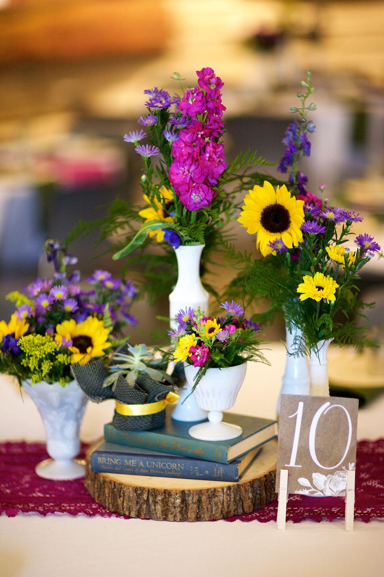 Vintage Book Milk Glass Sunflower Wedding Centerpieces