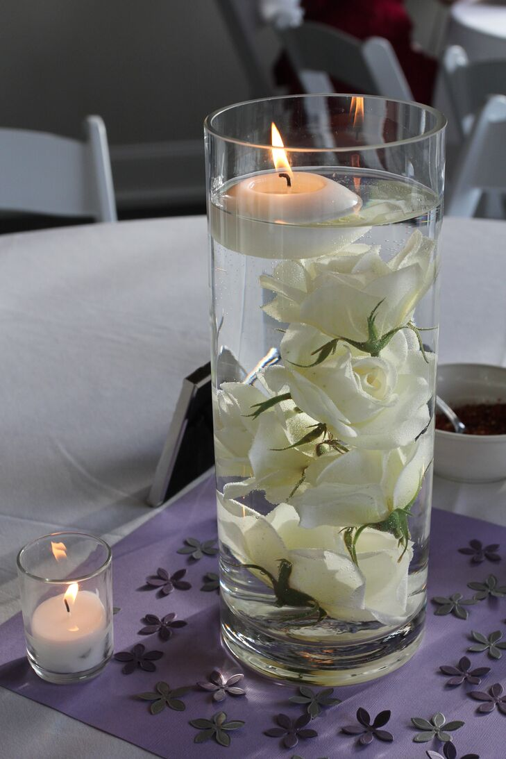 Submerged rose centerpieces with floating candle