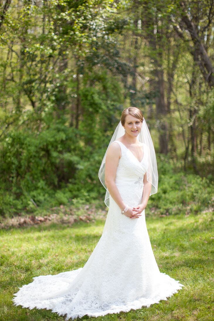 Bride in a Lace J. Crew Wedding Dress and Fingertip Veil