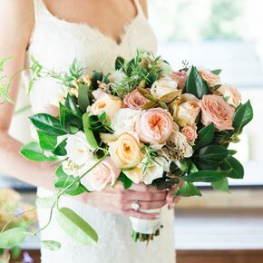 Blush wedding bouquets romantic peach and blush garden rose bouquet mightylinksfo