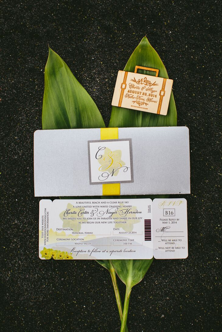 "Since it was a destination wedding, we wanted to incorporate a travel theme,"" Charita says. The couple's 21 guests received mini-luggage save-the-date magnets as well as custom boarding pass invitations with an RSVP portion that detached – just like a real ticket!"