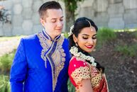 Cobalt-blue linens, vibrant marigolds and plenty of fresh fruit lent a pop of color to Anita Krishnan (30 and a doctor of physical therapy) and Weston