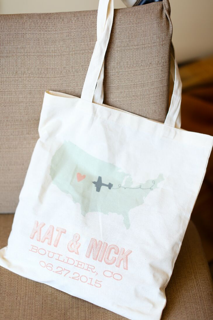 Kat and Nick welcomes their out of town guests with personalized tote bags filled with wedding weekend essentials and a few local treats to give them a taste of the wedding's locale.