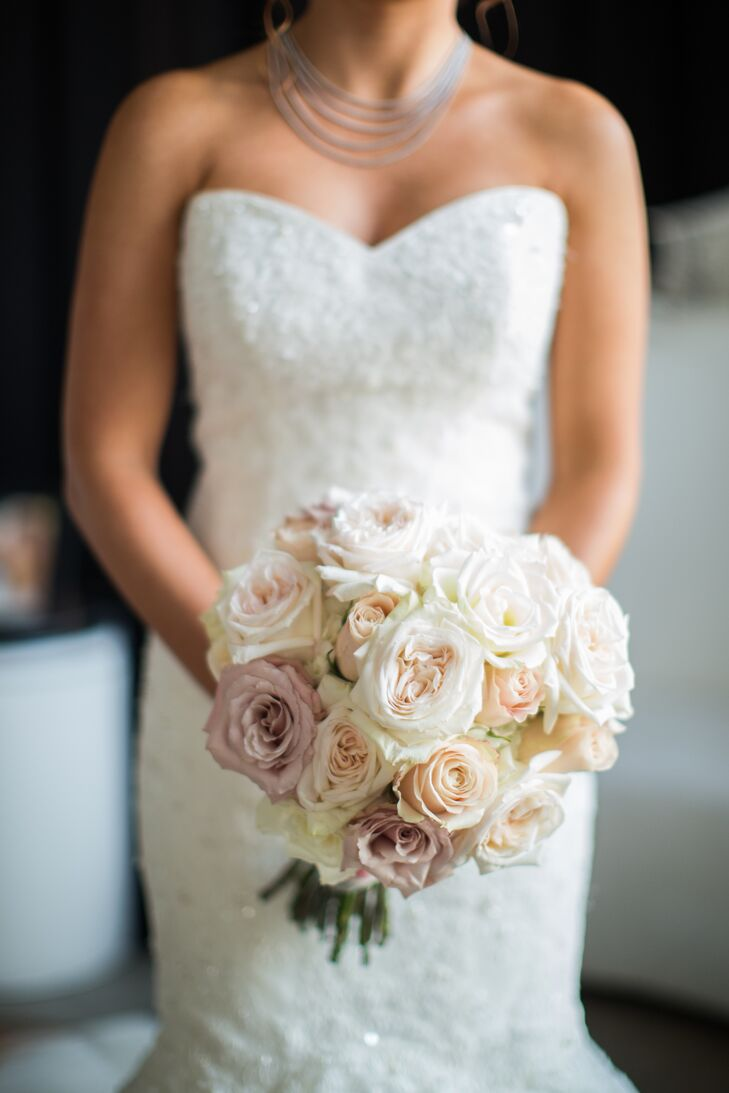 Ivory And Champagne Rose Bridal Bouquet