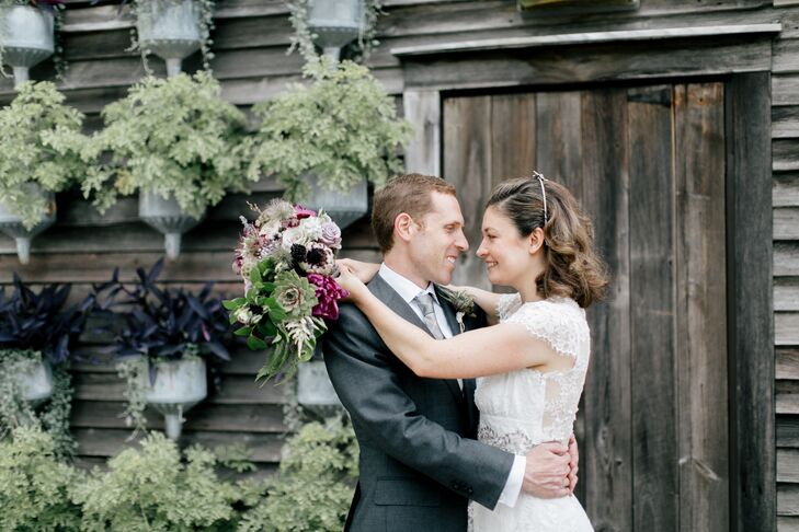 Textured florals in shades of green, taupe and purple embellished Marion and John's botanical-inspired celebration at a local greenhouse. Rather than
