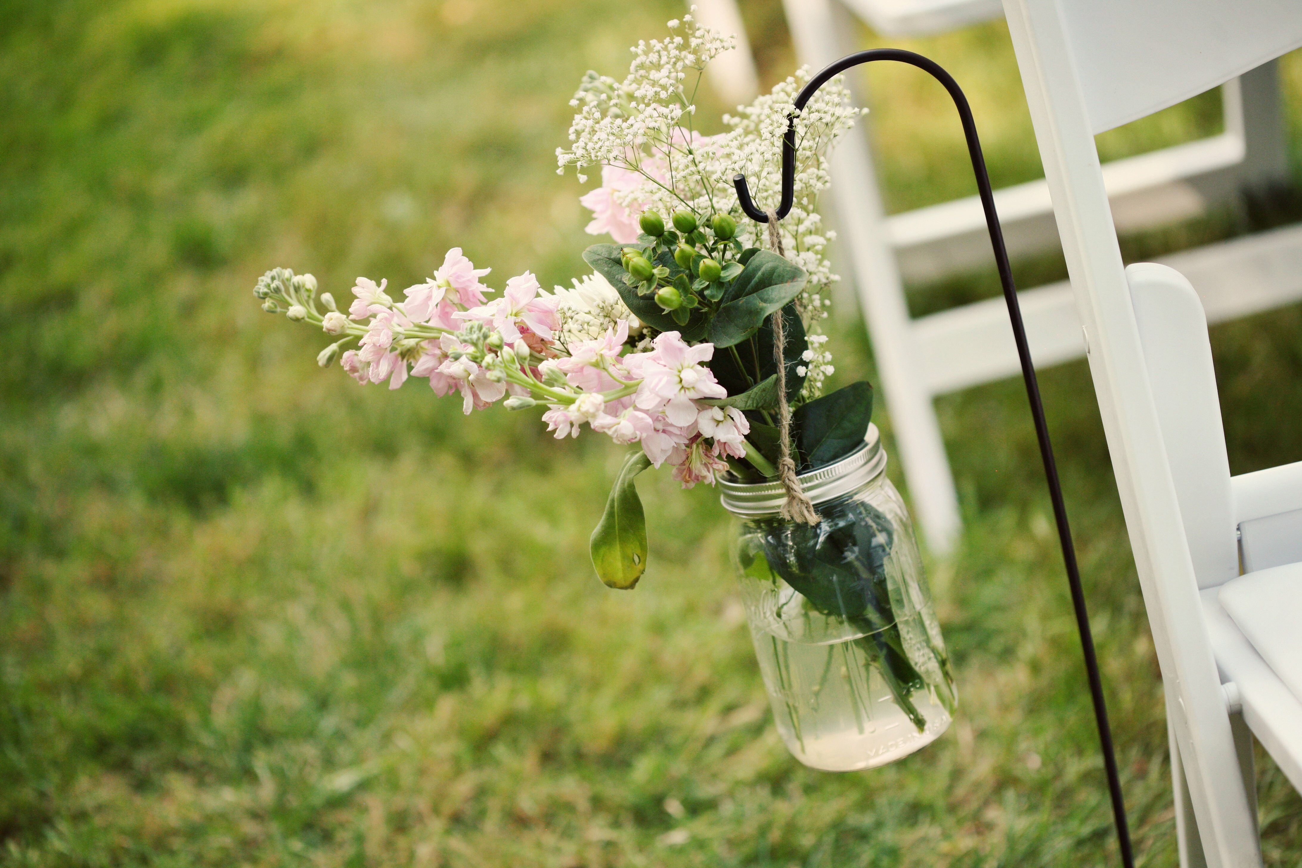 Nice Hanging Mason Jar Ceremony Decor