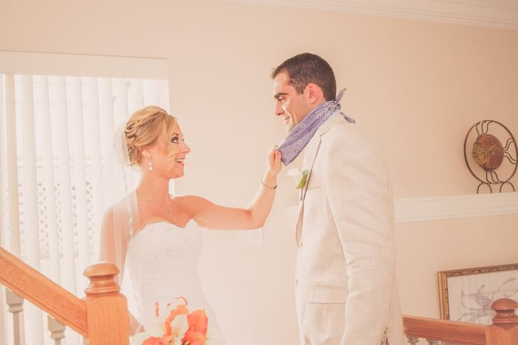 Bride and Groom During First Look in Virginia Beach