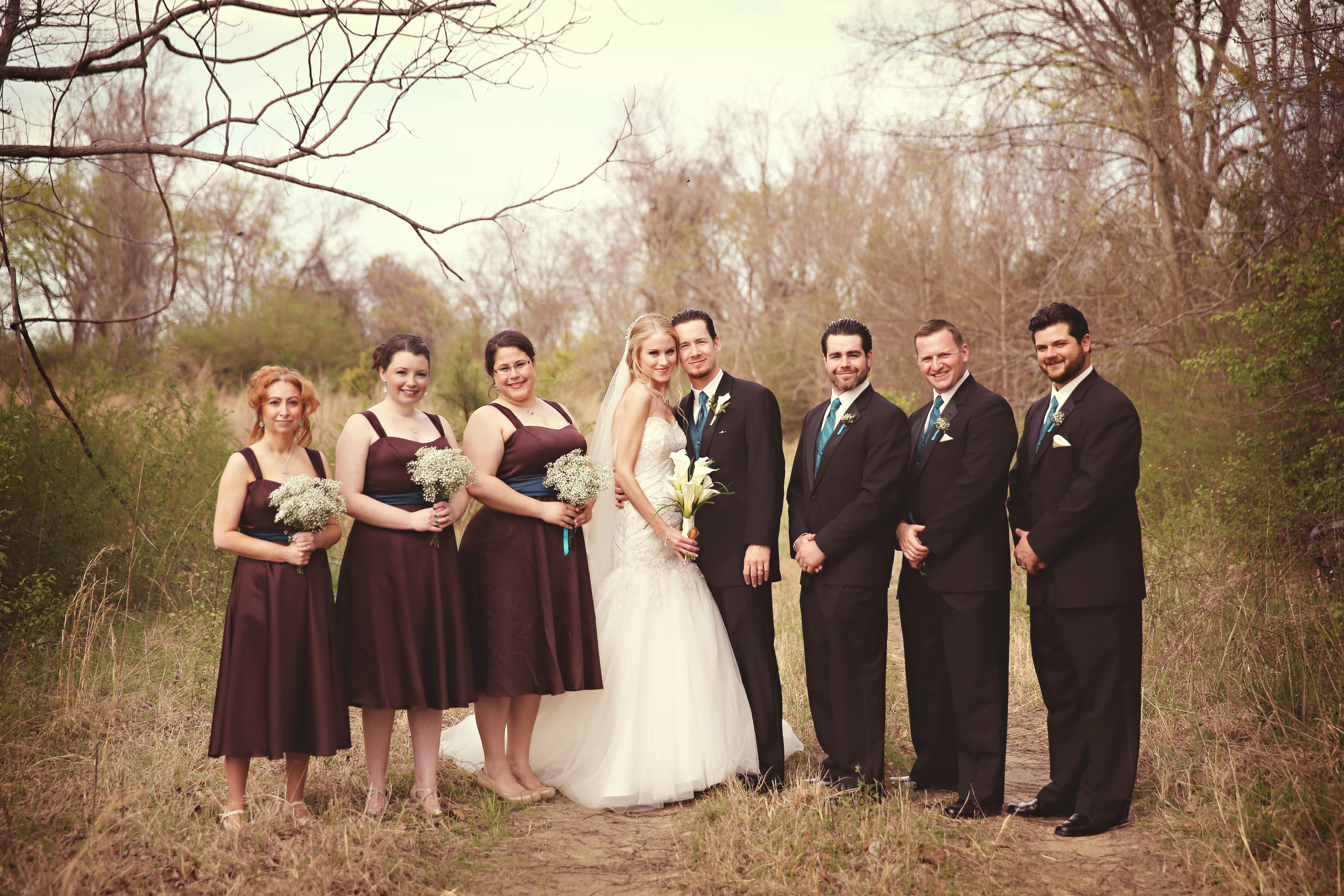Chocolate And Teal Wedding Reception: Deep Teal And Brown Wedding Party Attire