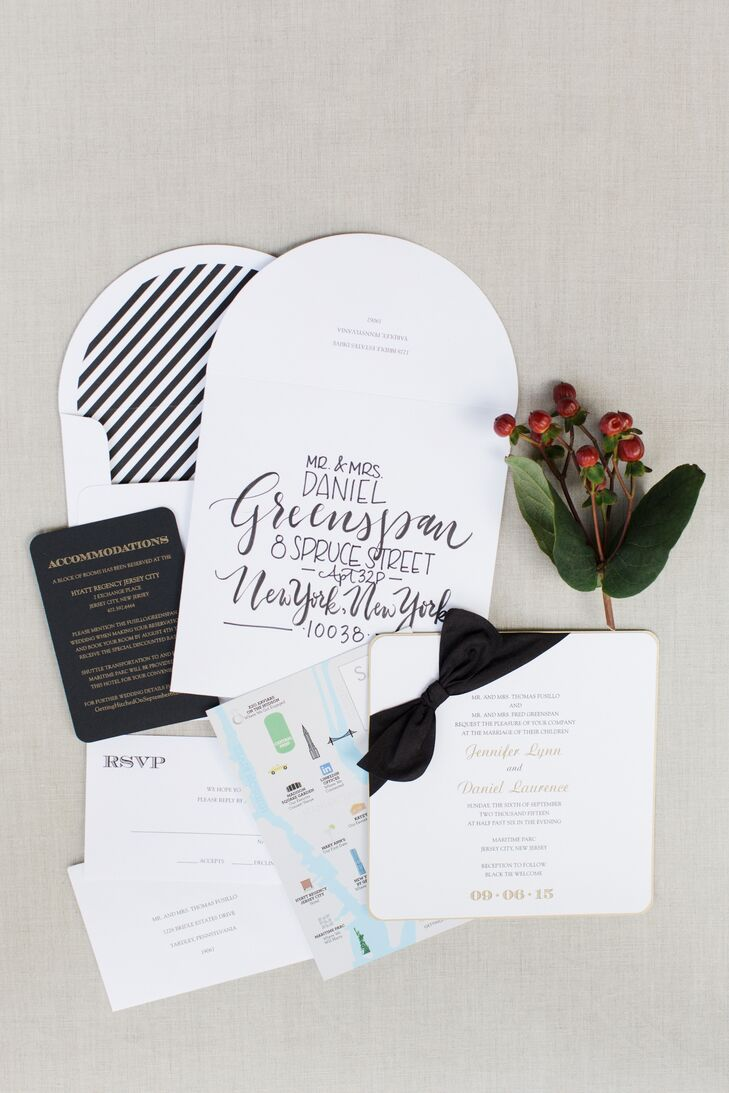 Bow-Embellished Black and White Invitations