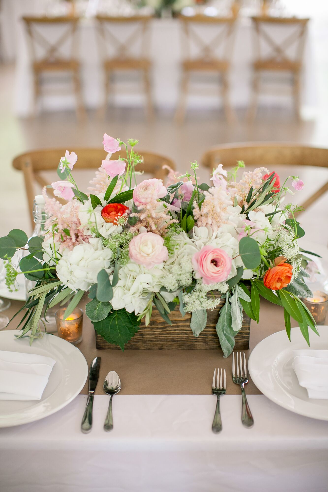 Romantic Blush and Coral Ranunculus Centerpiece in Wooden Box