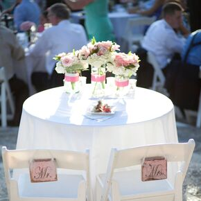 Modern peony wedding rentals equipment classic white sweetheart table with mr and mrs signs junglespirit Choice Image