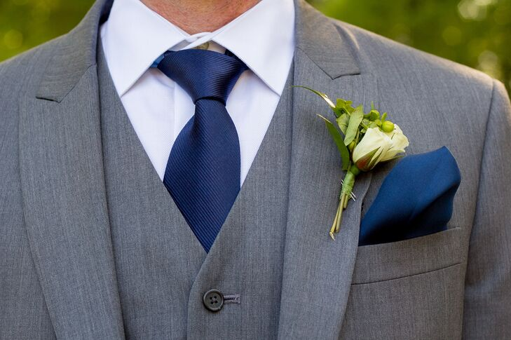 Gray Men's Wearhouse Suit With Navy Tie and Pocket Square