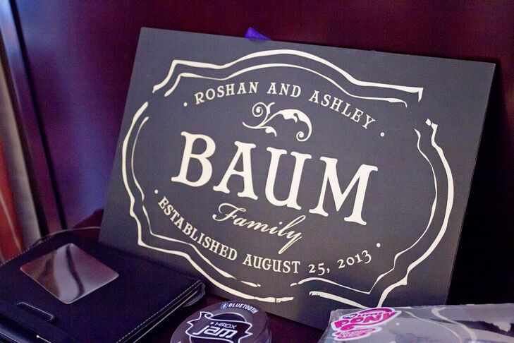A purple wedding sign with Ashley and Roshan's new last name and their wedding date did double duty as wedding day decor and a sweet keepsake.