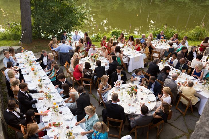 The outdoor reception took place next to a gorgeous lake.