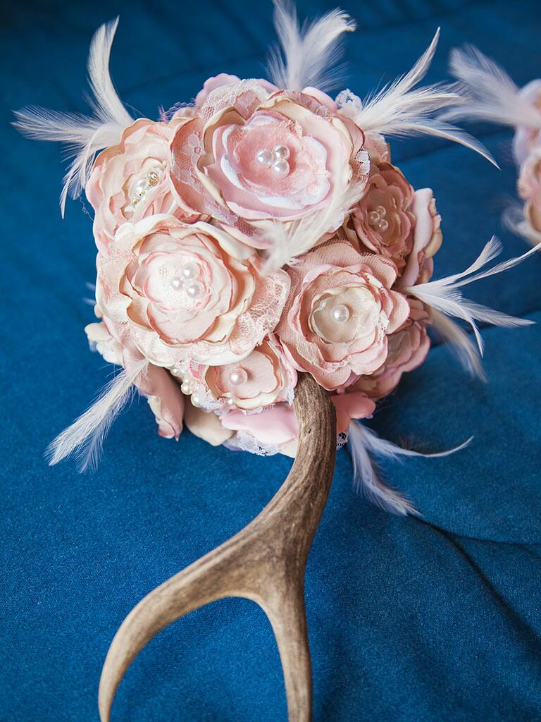 Rustic unique feather bouquet with paper roses