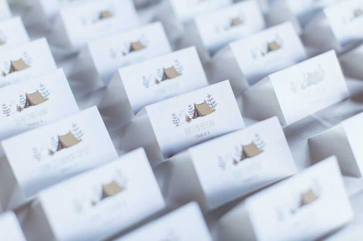 Camp-Inspired Escort Cards with Tent Motif