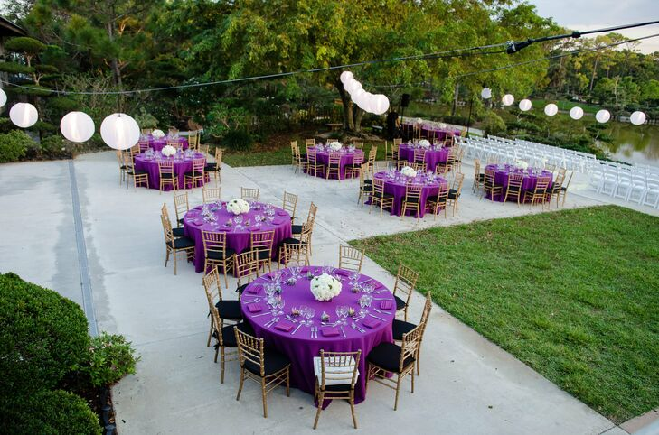 The Guest Tables Were Topped With Vibrant Purple Linens And Surrounded By  Gold Chiavari Chairs.