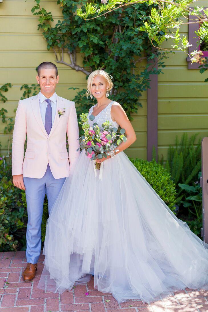 Bride and Groom Pastel Wedding Attire