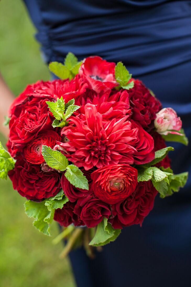 Red rose dahlia ranunculus bridesmaid bouquets