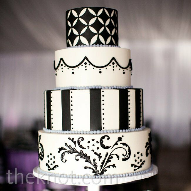 black and white wedding cake images black and white patterned cake 11844