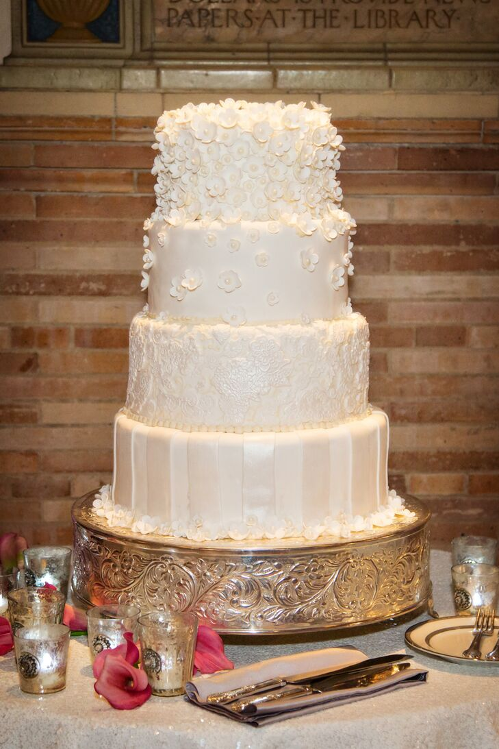 Classic White Wedding Cake with Gum Paste Sugar Flowers