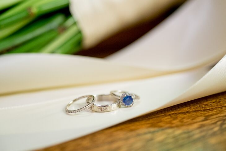 Silver Wedding Rings, Sapphire Stone