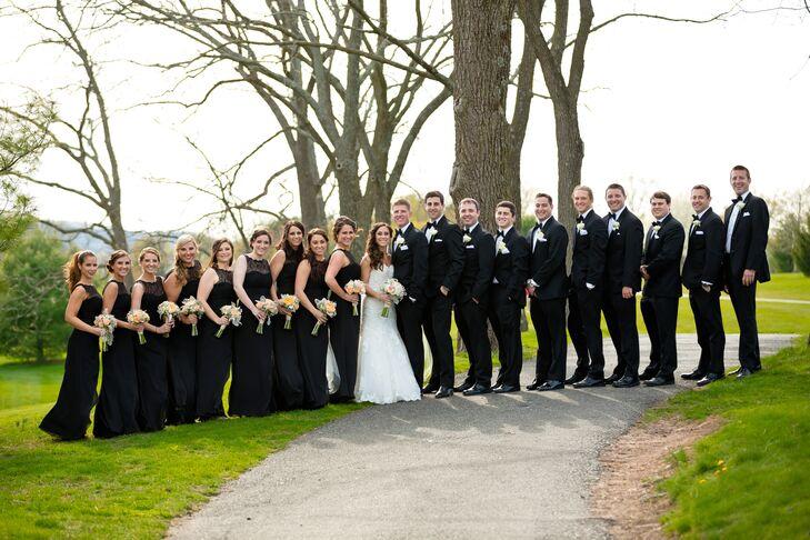Classic, All-Black Wedding Party Attire