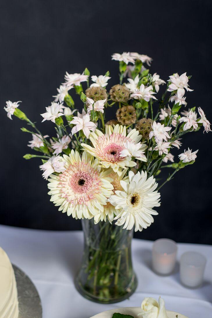 Gerbera daisy and scabiosa flower arrangement izmirmasajfo