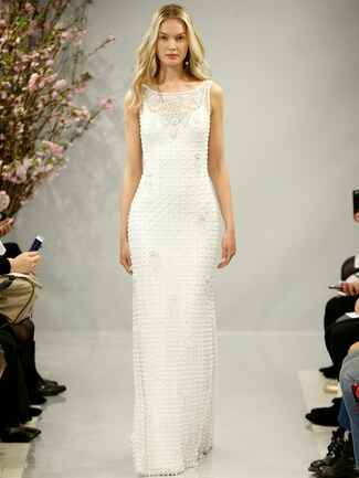 Theia Spring 2018 hand beaded pearl and crystal boat neck gown