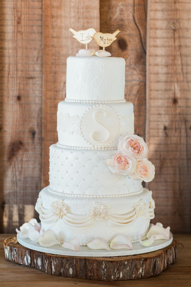 Intricate, Textured Four-Tier Wedding Cake