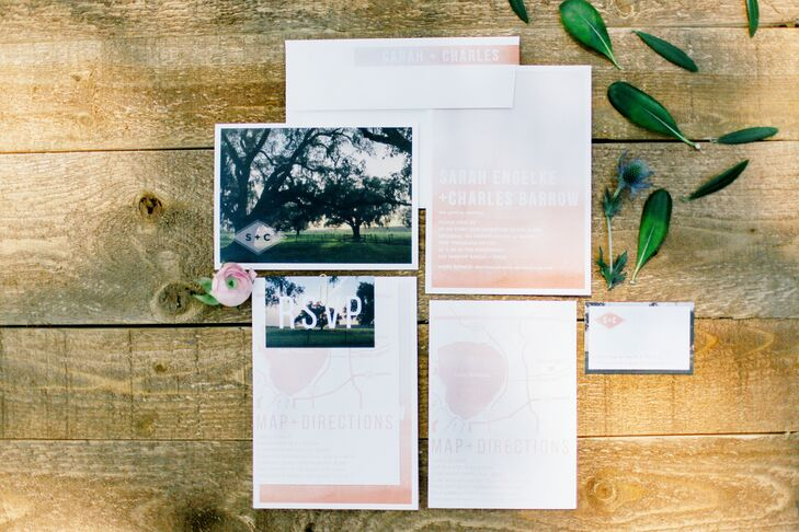 "Sarah and Charles ordered their stunning invitations on Minted. Sarah loved the blush ombre look and the simple, chic design, and they even inspired her to dip-dye 135 cloth napkins in the same blush hue for the reception. ""I absolutely adored my invitation suite and envisioning how it would play with the other details of the day,"" she says."