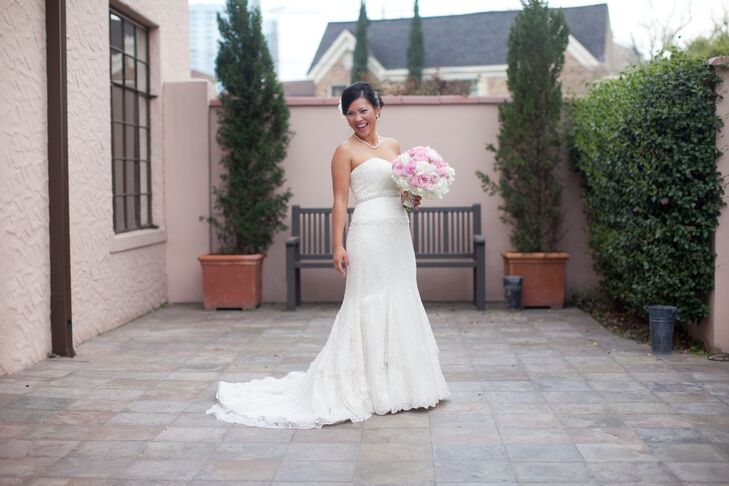 Lace Wedding Dress with Chapel Train in Houston, Texas