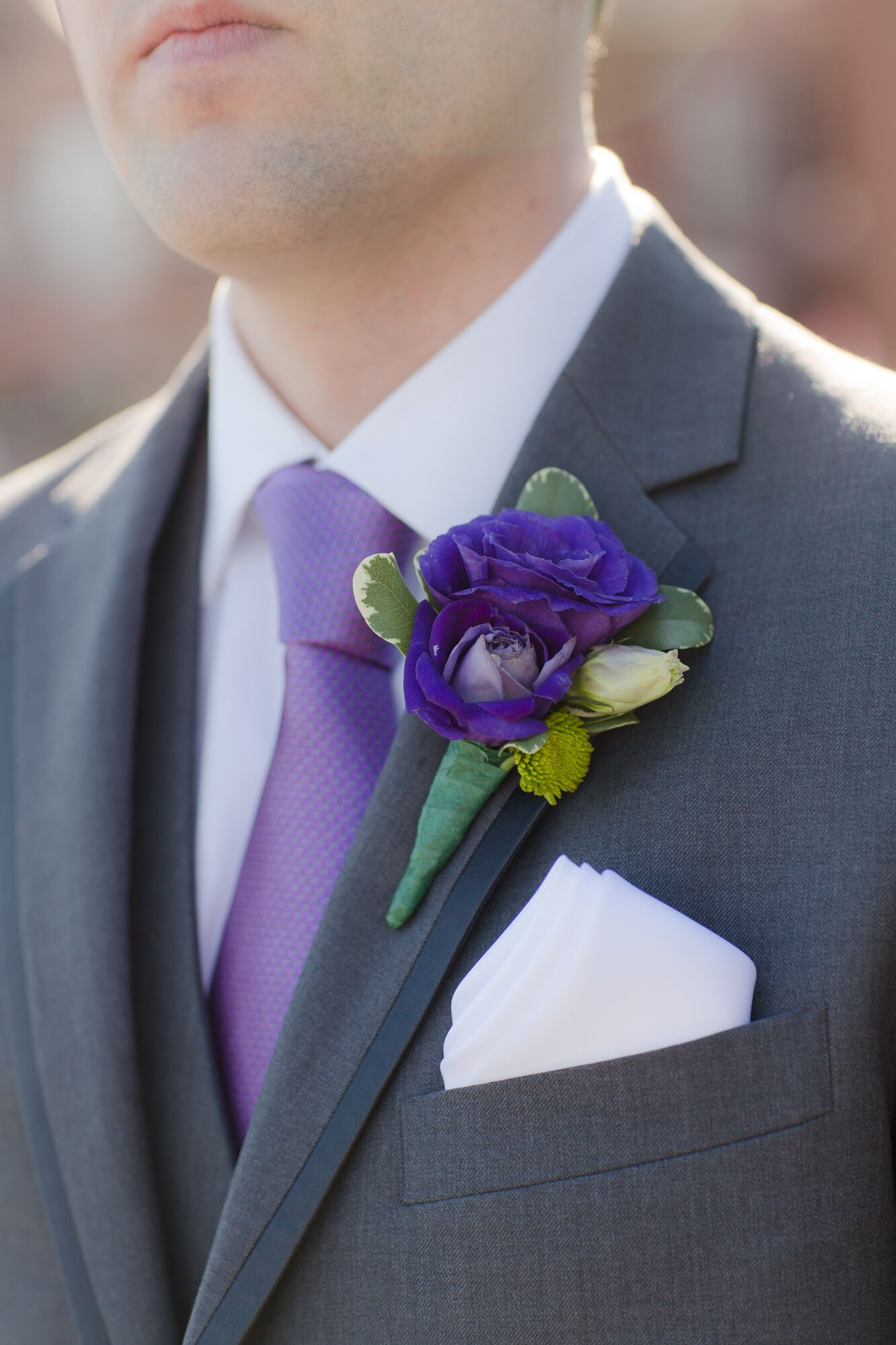 Purple Rose And Lisianthus Boutonniere