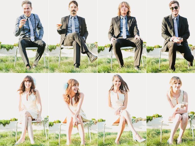 Brady Bunch-style wedding party portraits
