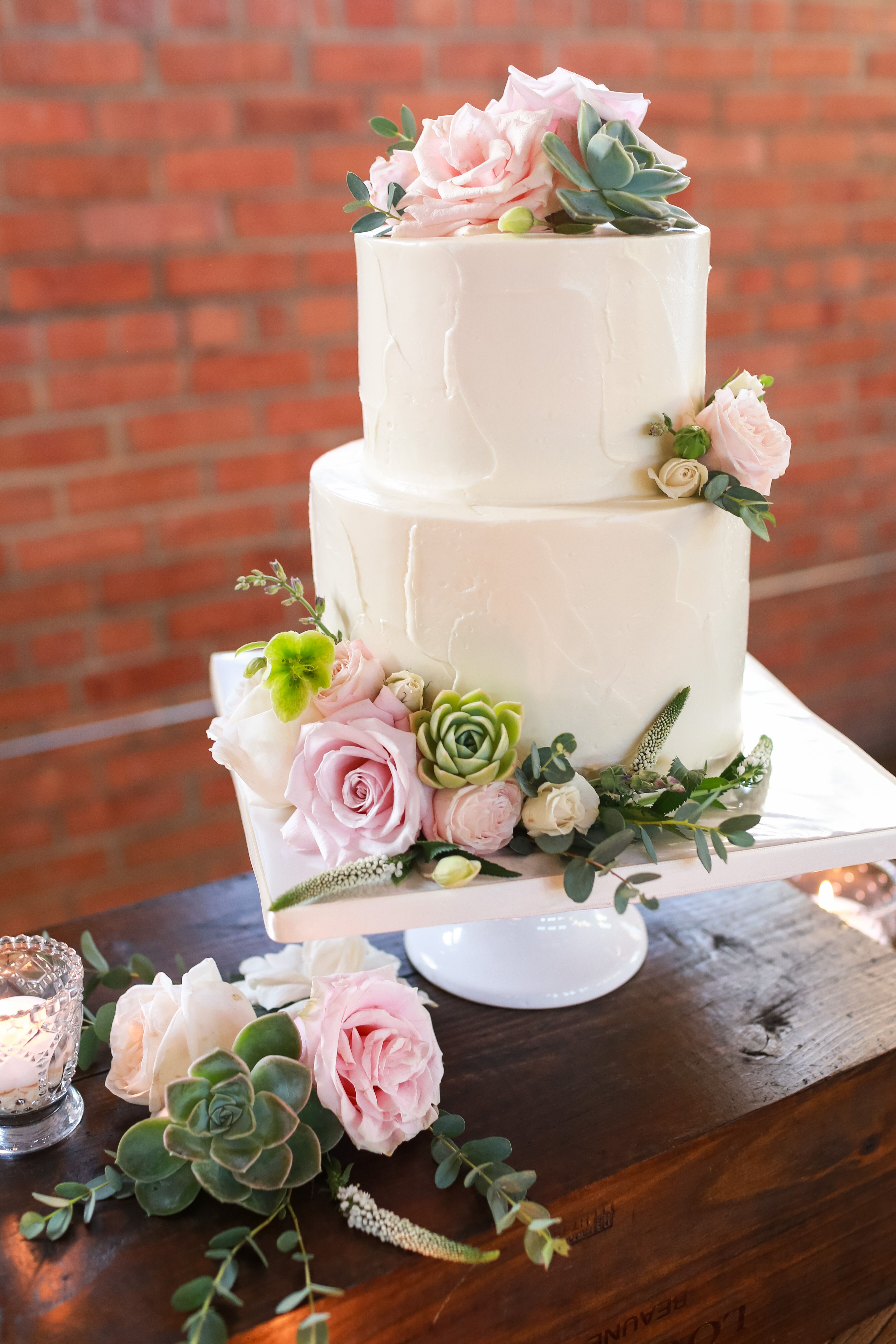 Simple Two Tier Wedding Cake With Roses