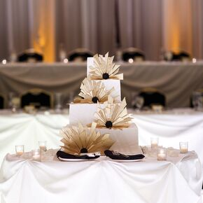 Gold And White Art Deco Inspired Wedding Cake