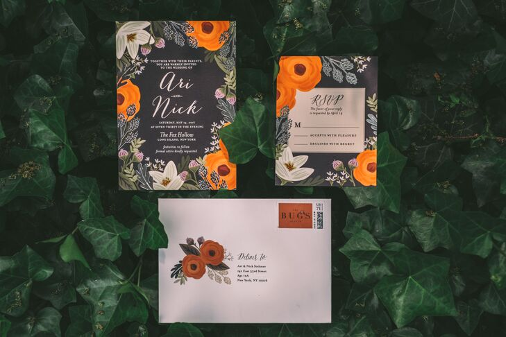 Dramatic Black Floral Wedding Invitations