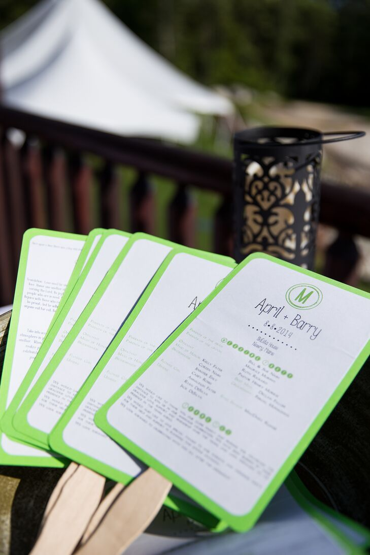 The green bordered white programs also doubled as fans to keep guests cool!