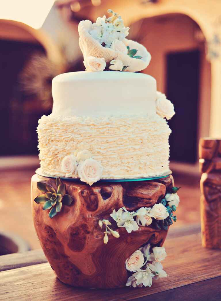 Wedding cake with driftwood cake stand