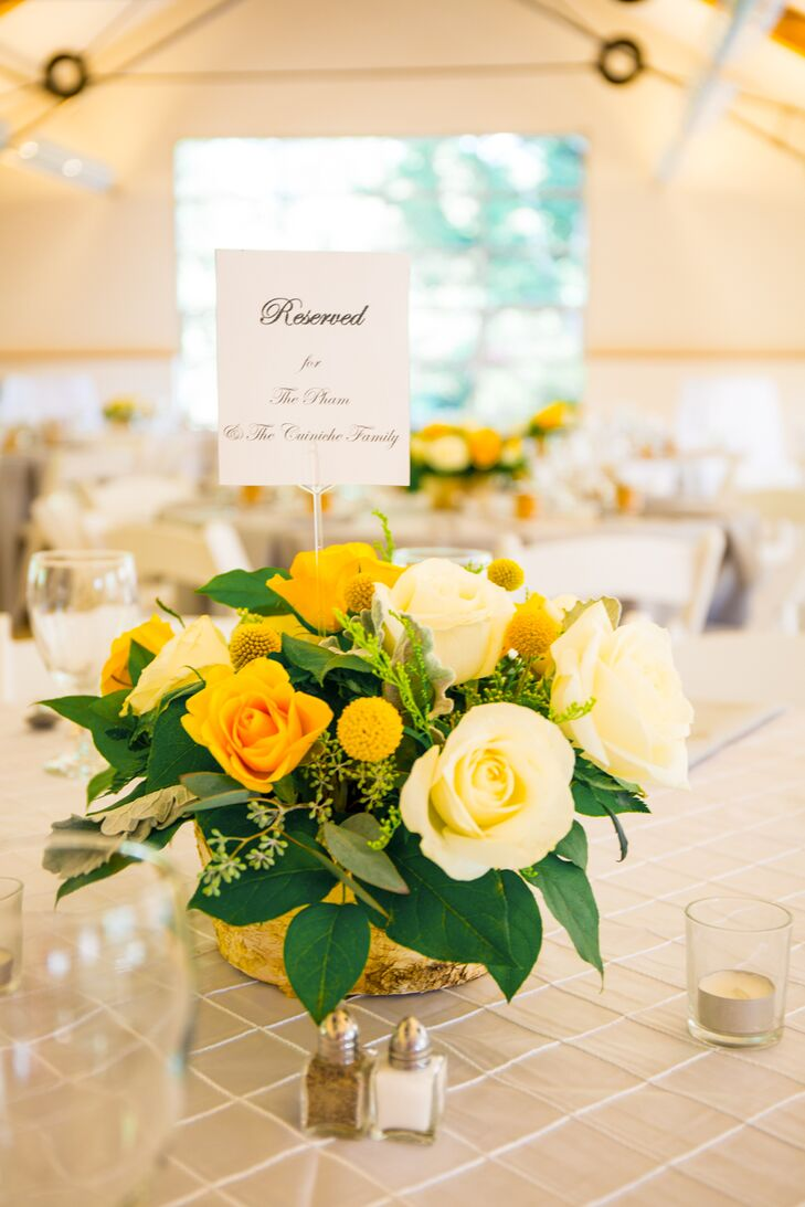 Yellow Rose And Craspedia Flower Arrangements