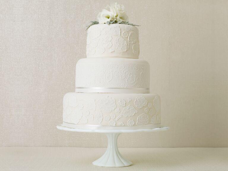 Winter wedding cakes real weddings winter weddings white 3 tier winter wedding cake with flower topper junglespirit Gallery