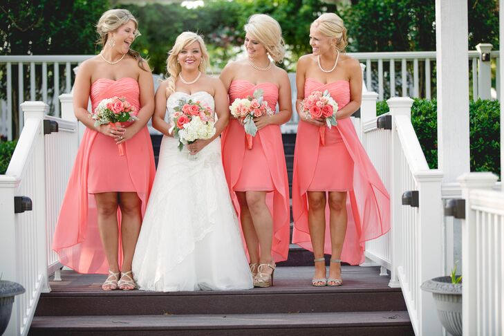 Coral high low bridesmaid dresses for Wedding dresses beaumont tx